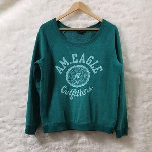 🌈 3/$35 AEO Green Crew Neck Sweater